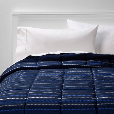 King Microfiber Stripe Comforter Blue - Room Essentials™