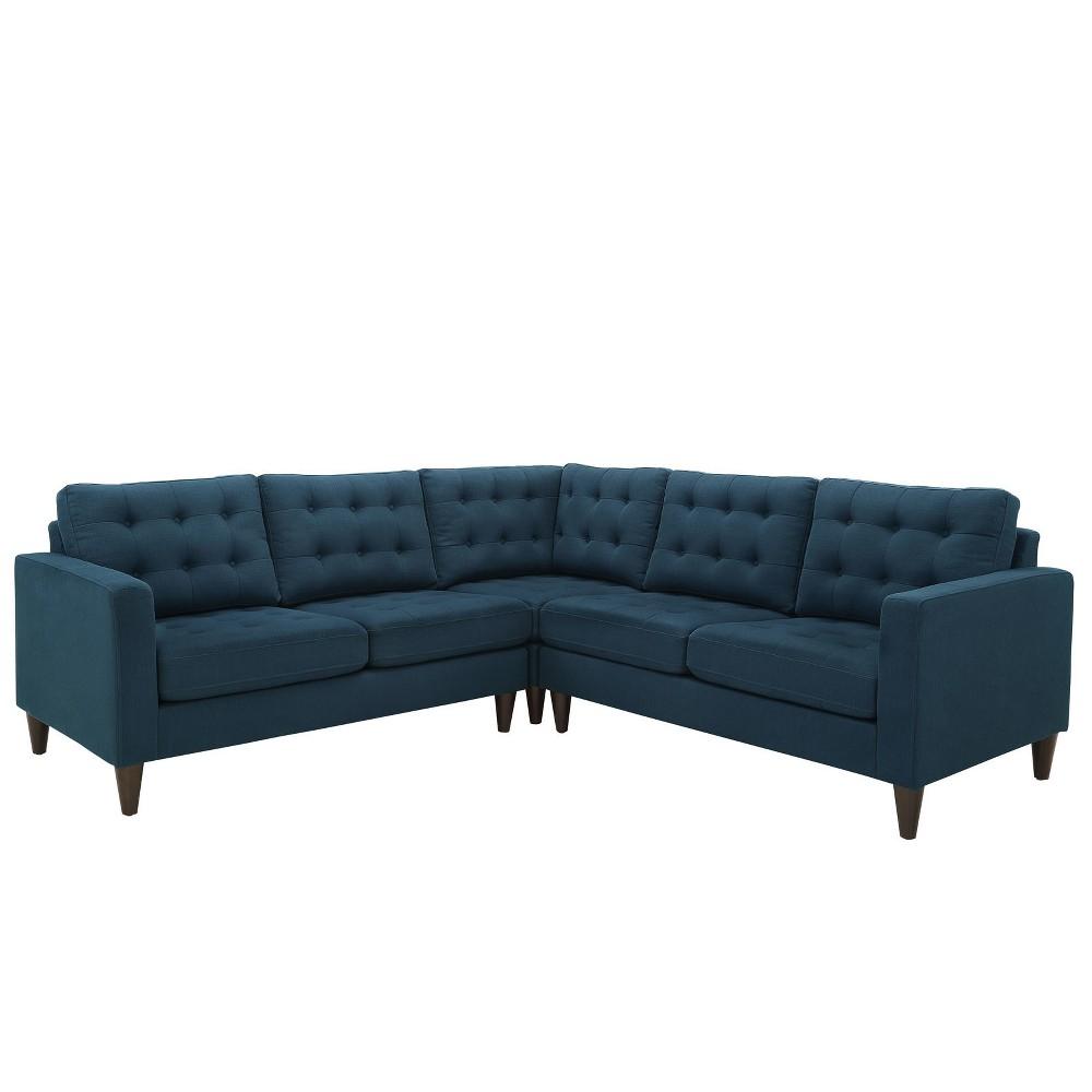 Empress 3pc Upholstered Fabric Sectional Sofa Set Azure (Blue) - Modway
