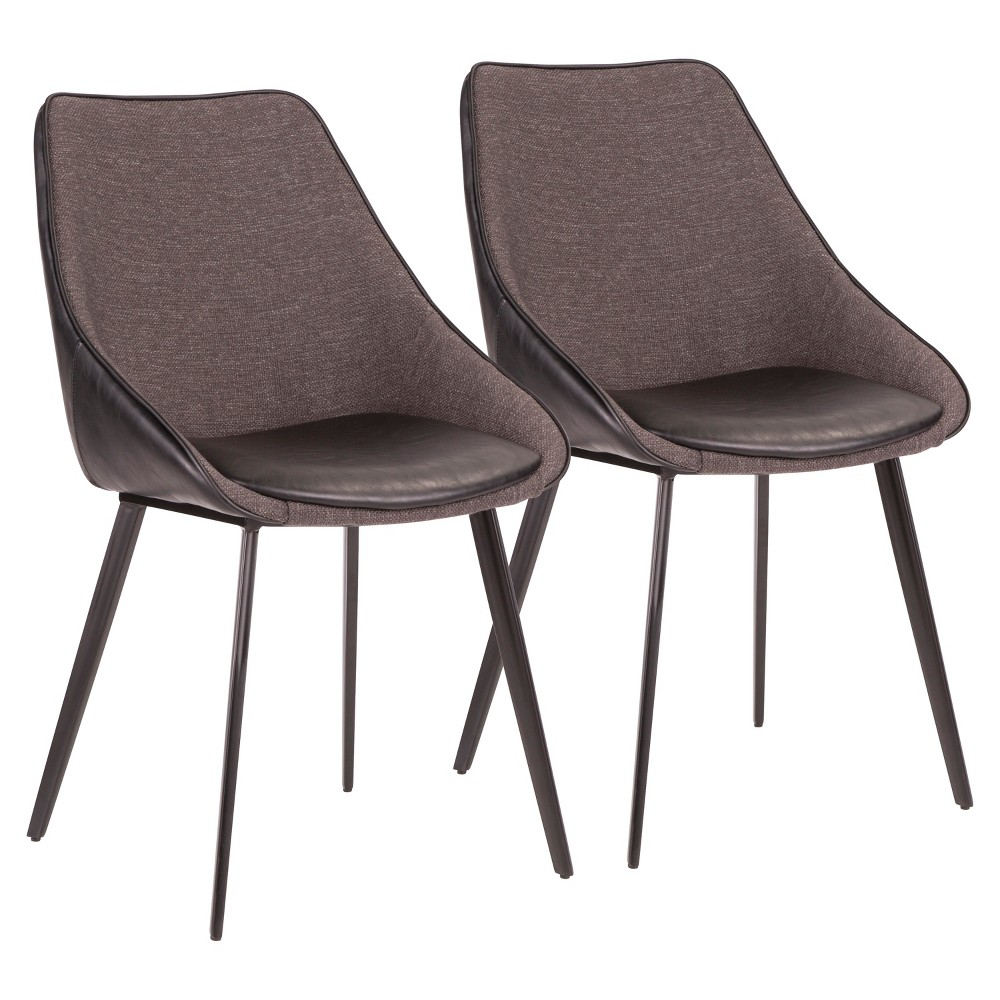 Set of 2 Marche Contemporary Two Tone Chair Black - LumiSource