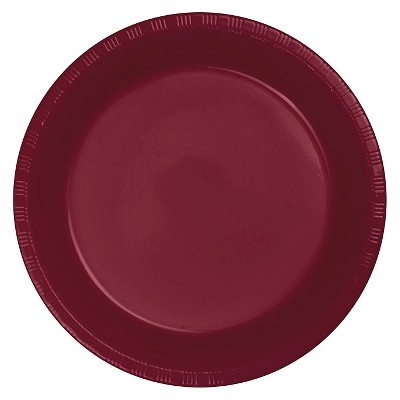"Burgundy Red 9"" Plastic Plates - 20ct"