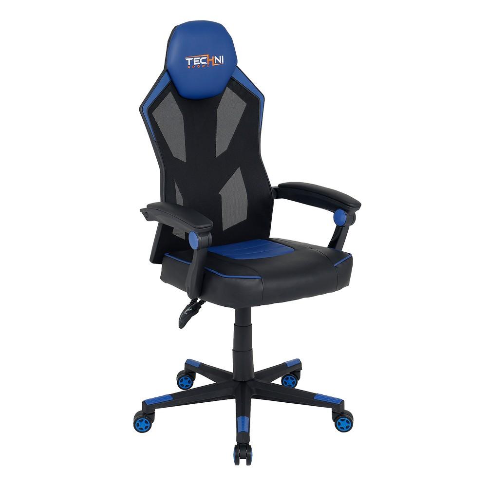 Ergonomic High Back Racer Style Video Gaming Chair Blue - Techni Sport