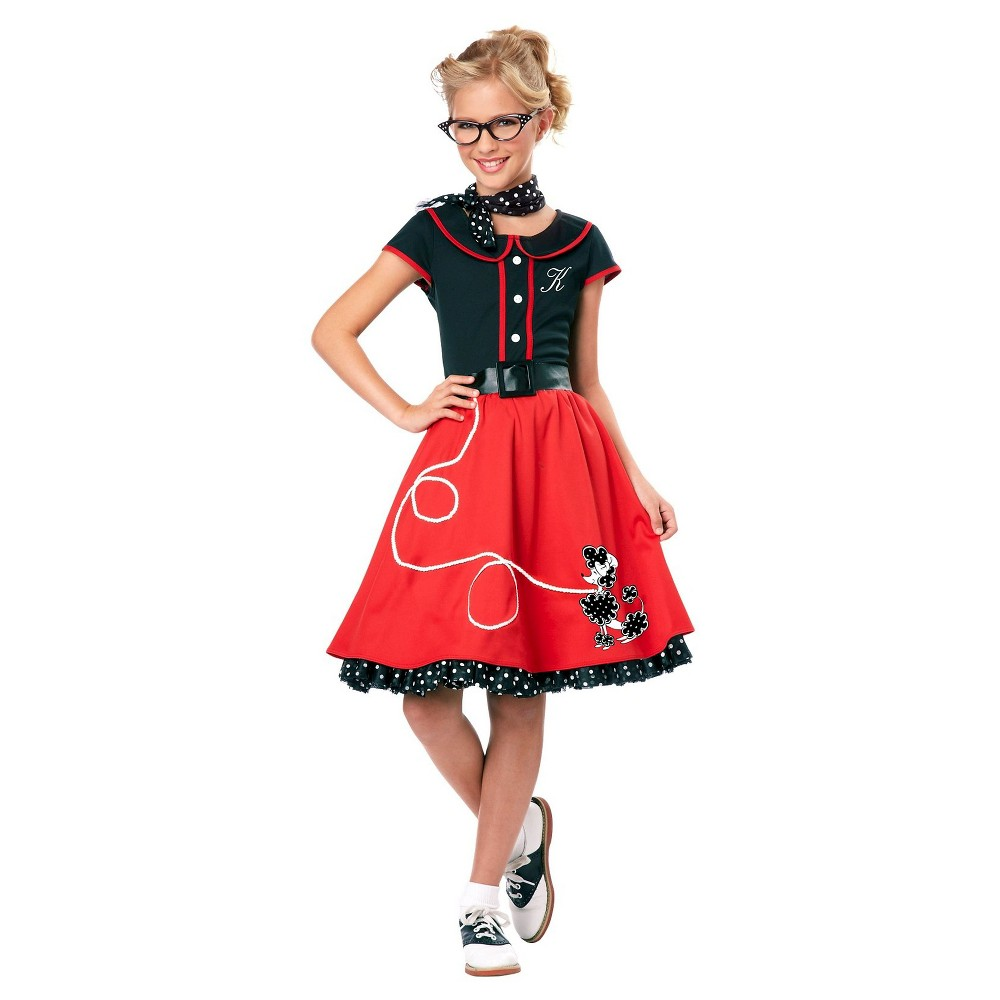 Girls 50's Sweetheart Costume - S, Size: S(4-6), Red