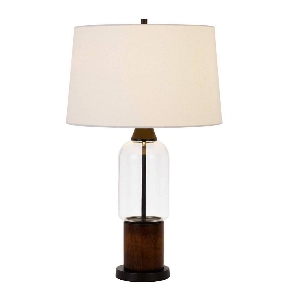 31 34 Pine Wood Glass Bron Table Lamp Cal Lighting