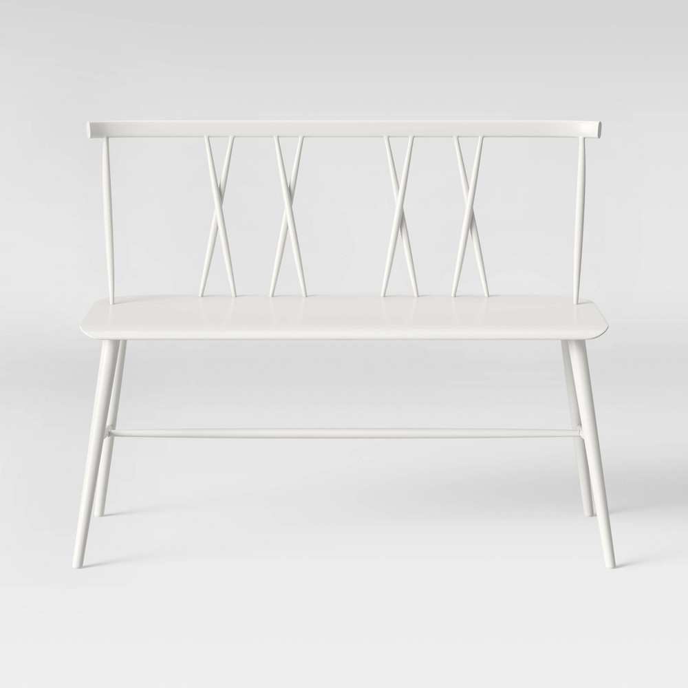 Becket Metal X Back Dining Bench White - Project 62
