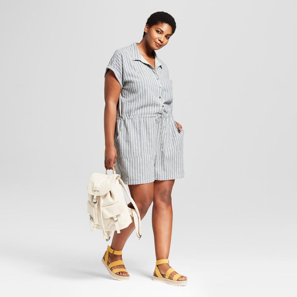 Women S Plus Size Striped Camp Shirt Romper Universal Thread 8482 Blue 3x