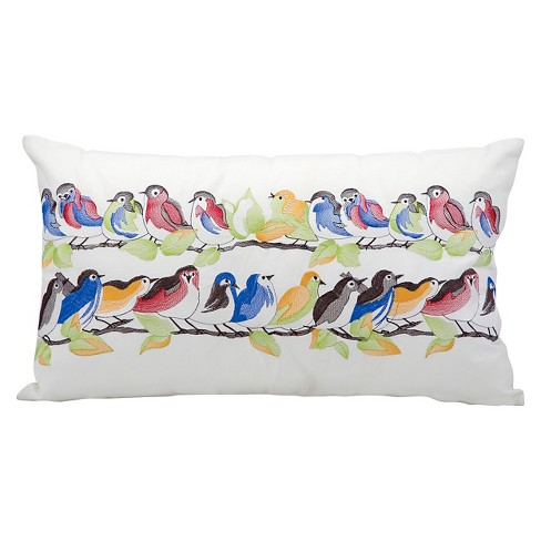 "White 23 Birds on a Wire Indoor/Outdoor Throw Pillow (14""x24"") - Nourison - image 1 of 1"