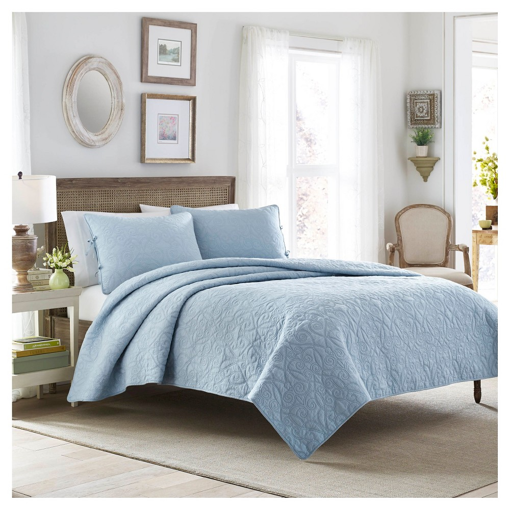 Image of Felicity Quilt And Sham Set Full/Queen Breeze Blue - Laura Ashley, Breezy Point Blue