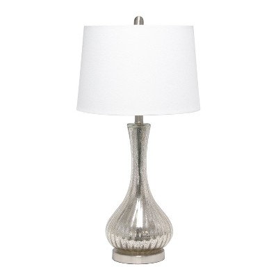 Speckled Mercury Tear Drop Table Lamp with Fabric Shade White - Lalia Home