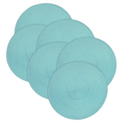 Aqua Woven Round Placemats (Set Of 6)- Design Imports