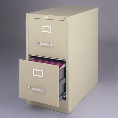 Steel 26.5 in Deep 2 Drawer Vertical Letter File Cabinet in Putty Brown-Hirsh Industries