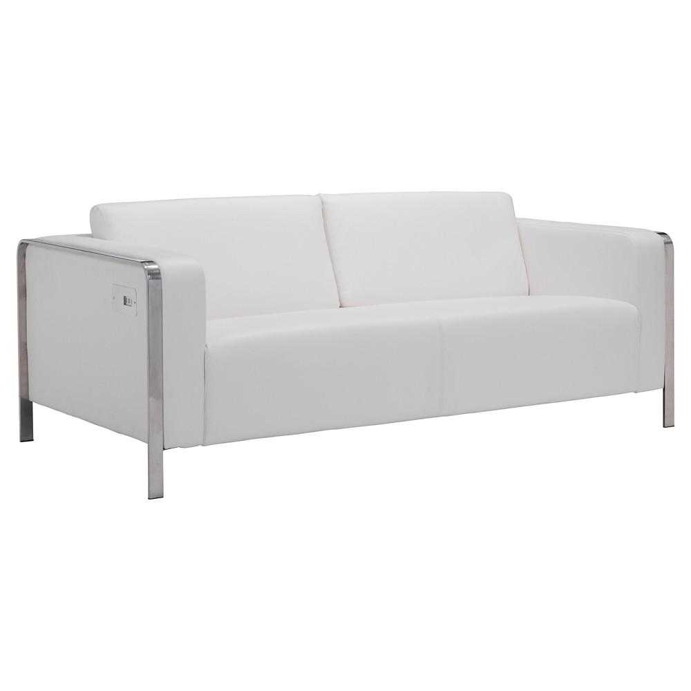 Sleek Modern 2 x 3-Port Usb Enhanced 72 Sofa - ZM Home, White
