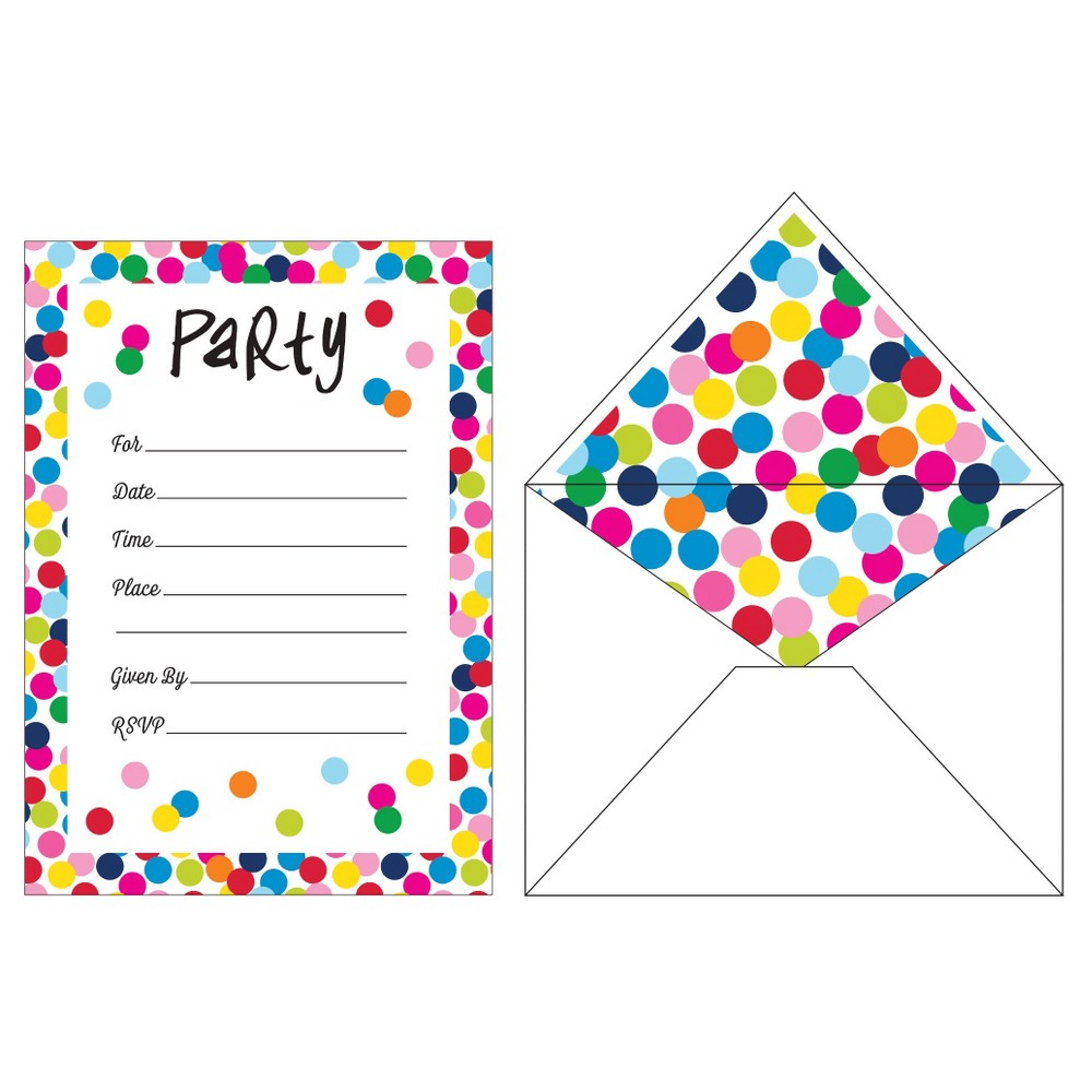 French Bull Birthday Dots Invitations, 10 pk