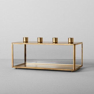 Glass and Metal Taper Candle Holder Brass - Hearth & Hand™ with Magnolia