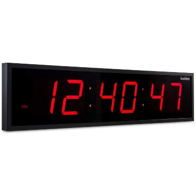 Ivation Huge Large Big Oversized Digital LED Clock - Shelf or Wall Mount (24 Inch - Red) | 6-Level Brightness, Mounting Holes & Hardware