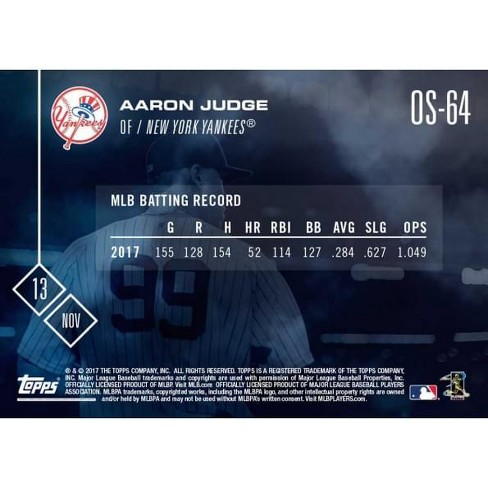NY Yankees 2017 AL Rookie of the Year Aaron Judge (RC) MLB Topps NOW Card