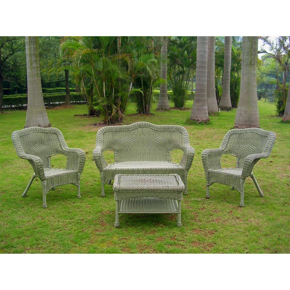 Image of International Caravan Chelsea 4-Piece Wicker Conversation Furniture Set - Moss, Ant Green