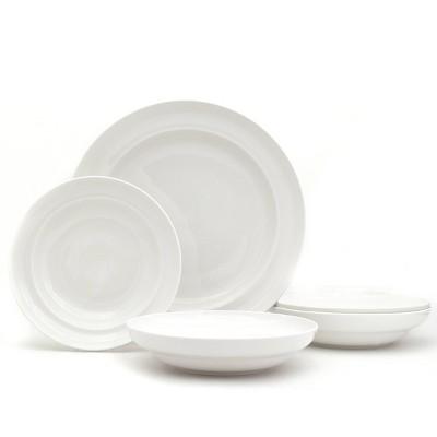5pc Ceramic Essentials Pasta and Serve Bowl Set White - Euro Ceramica