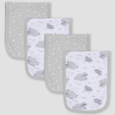 Gerber Baby 4pk Lamb Burp Cloth - White/Gray