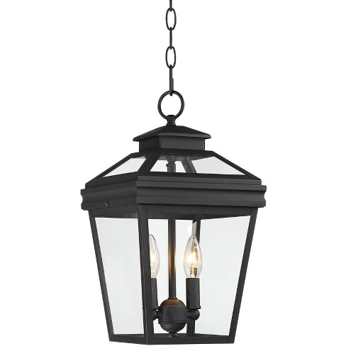 """John Timberland Traditional Outdoor Ceiling Light Hanging Black Lantern 16 1/2"""" Clear Glass for Exterior House Porch Patio Deck - image 1 of 4"""