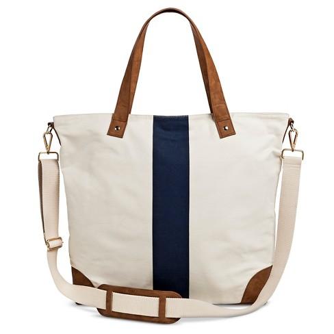 Women S Single Stripe Canvas Tote Handbag With Removeable Crossbody Strap Ivory Merona