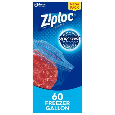 Ziploc Freezer Gallon Bags with Grip 'n Seal Technology - 60ct