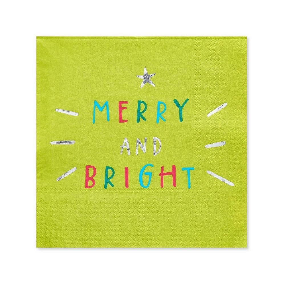 Image of 20ct Christmas Making Spirits Bright Beverage Napkin - PAPYRUS
