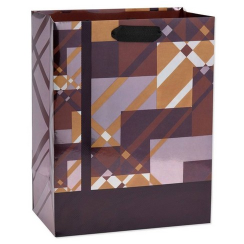 Geo Plaid Large Father's Day Gift Bag - Papyrus - image 1 of 3