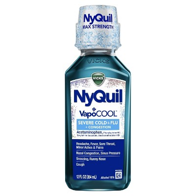 NyQuil Severe with Vicks Vapocool Nighttime Cold & Flu Relief Liquid - Acetaminophen - 12 fl oz