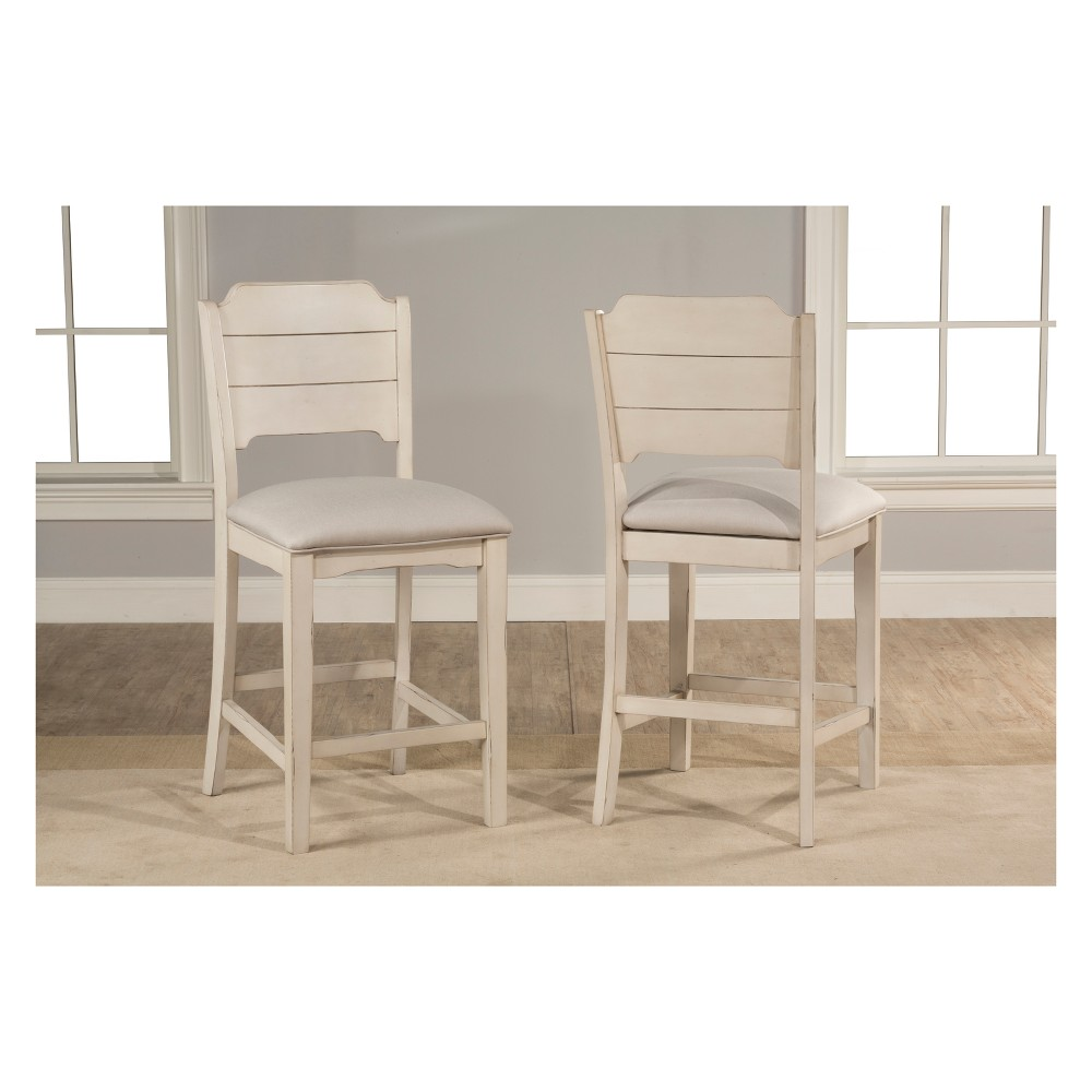 Clarion NonSwivel Open Back Counter Height Stool Set of 2 Sea White - Hillsdale Furniture