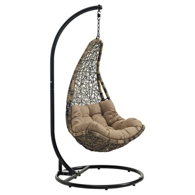Abate Outdoor Patio Swing Chair - Black/Mocha - Modway