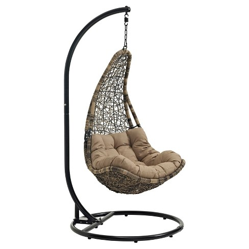 Abate Outdoor Patio Swing Chair - Black/Mocha - Modway - image 1 of 5