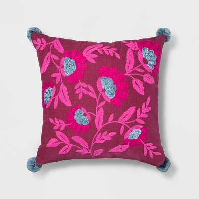 Embroidered Floral Square Throw Pillow Berry/Blue - Opalhouse™