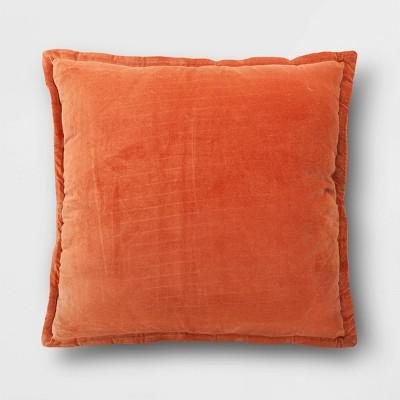 Oversized Square Velvet Reversed to Herringbone Pillow Orange - Threshold™