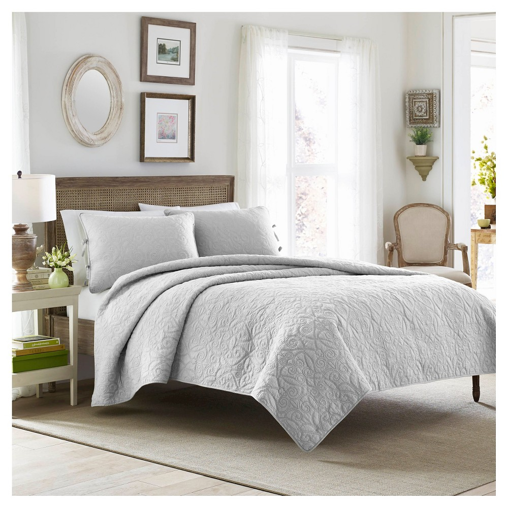 Image of Felicity Quilt And Sham Set Full/Queen Soft Gray - Laura Ashley, Light Gray
