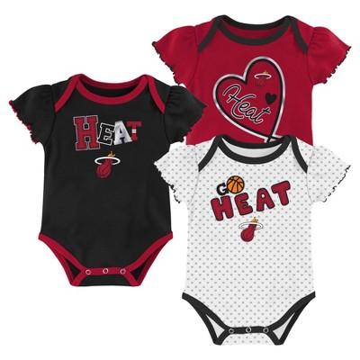 NBA Miami Heat Girls' Draft Pick Body Suit Set 3pk - 3-6M