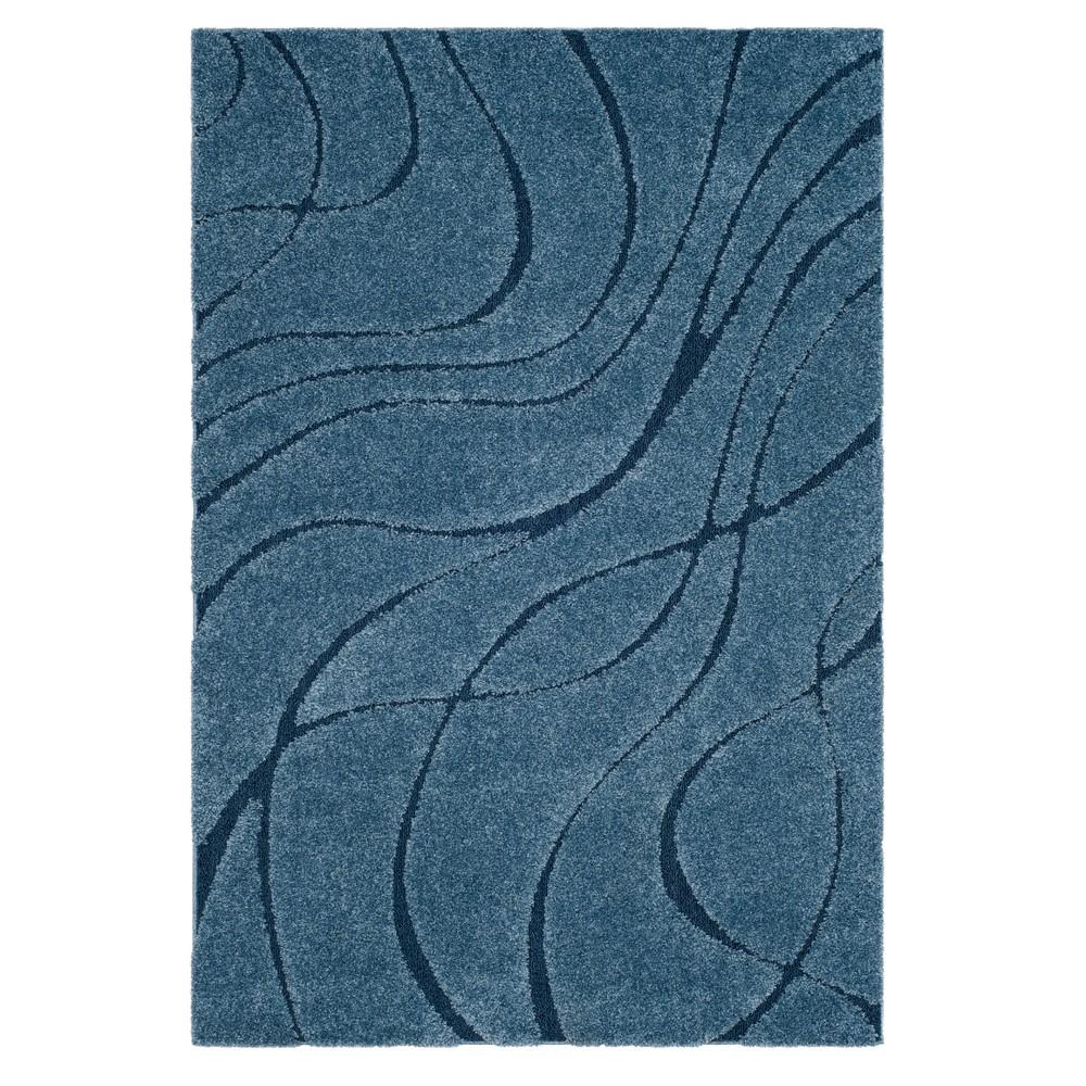 Light Blue Swirl Loomed Area Rug 6'X9' - Safavieh