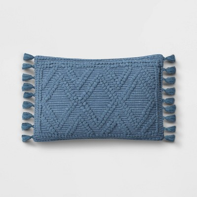 Lumbar Woven Textured Diamond Throw Pillow Blue - Opalhouse™