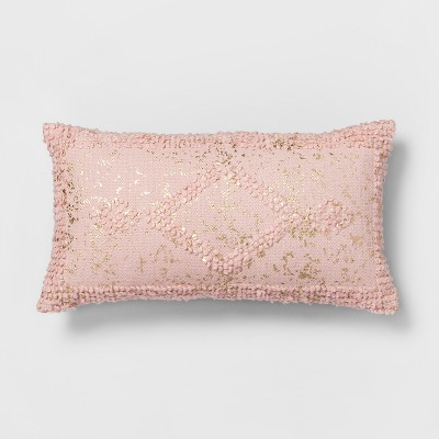 Pink Metallic Diamond Lumbar Throw Pillow - Opalhouse™