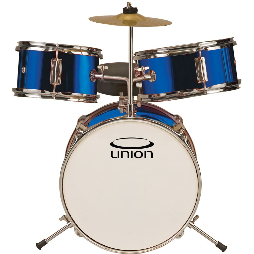Union UT3 3pc Toy Drum Set with Cymbal and Throne - Metallic Dark Blue, Caribbean Blue