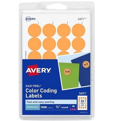 "Avery Easy Peel Laser Color Coding Labels 3/4"" Dia. Neon Orange 538116"