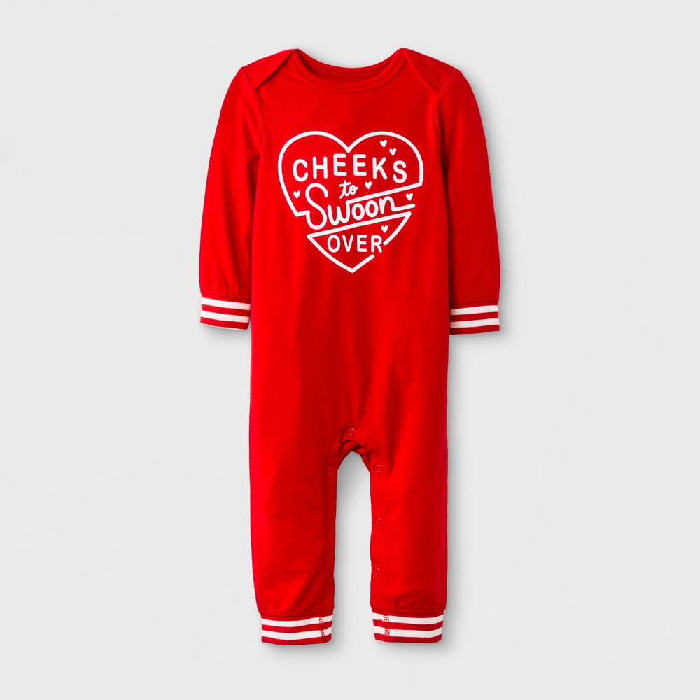 Baby Long Sleeve Romper - Cat & Jack Red 18M, Infant Unisex
