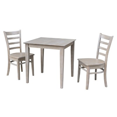 """3pc Solid Wood 30""""x30"""" Dining Table and 2 Emily Chairs Washed Gray Taupe - International Concepts"""