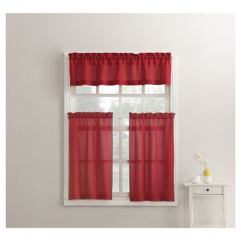 Martine Microfiber 3 Piece Kitchen Curtain Valance And Tiers Set Red 54 X36 No 918