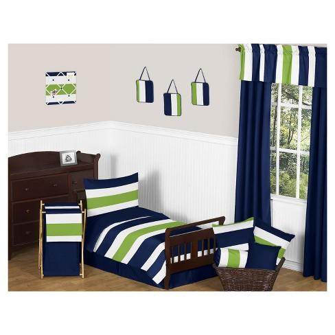 Navy Lime Stripe Bedding Set Toddler Sweet Jojo Designs Target