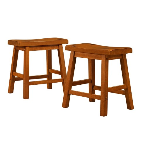 "Set of 2 18"" Danteh Stool Saddleback Oak Brown - Inspire Q - image 1 of 4"