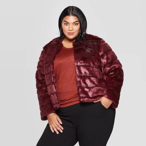 Women's Plus Size Faux Fur Jacket - Ava & Viv™ Burgundy 2X - image 1 of 2