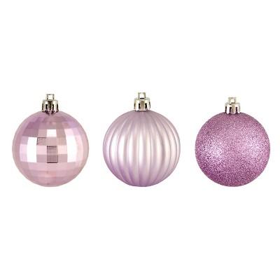 "Northlight 100ct Shatterproof 3-Finish Christmas Ball Ornament Set 2.5"" - Purple"
