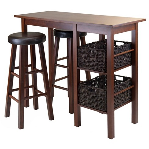 5 Piece Egan Set Breakfast Table with Baskets And Bar Stools Wood/Walnut/Chocolate/Espresso - Winsome - image 1 of 8