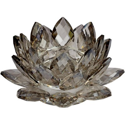 """Dahlia Studios Gray Glass 9 1/4"""" Wide Crystal Lotus Candle Holder"""