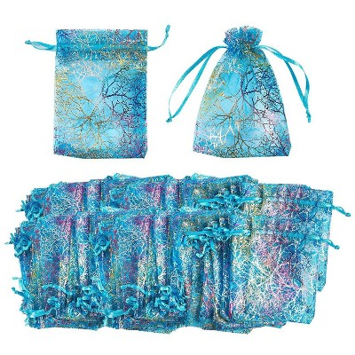 Blue Panda 120-Pack Coral Satin Organza Wedding Party Favor Small Gift Bags Jewelry Pouches, Blue 3.5 x 4.7 In